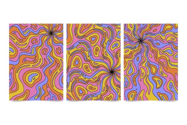 Handgezeichnete psychedelische cover-kollektion