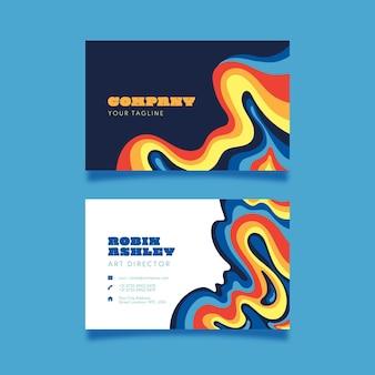 Handgezeichnete psychedelische visitenkarten
