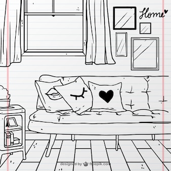 Handgezeichnete raum mit couch und fenster