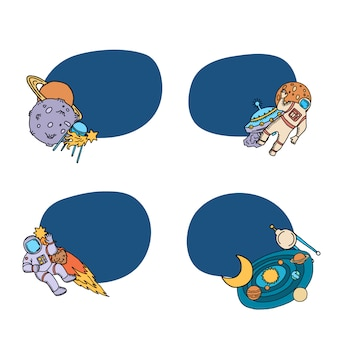 Handgezeichnete raumschiff elemente aufkleber