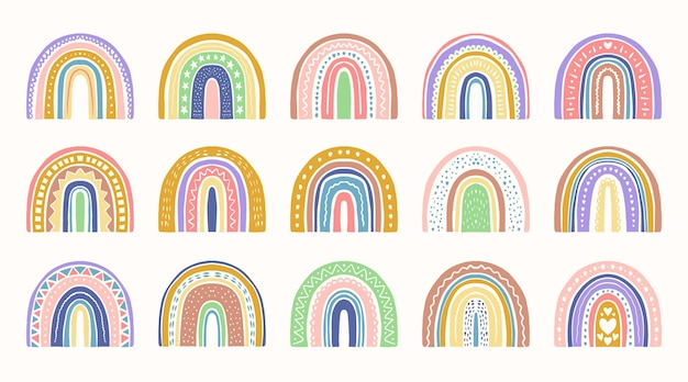 Handgezeichnete regenbogen-aufkleber-sammlung