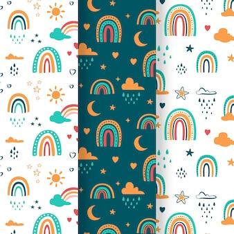 Handgezeichnete regenbogenmustersammlung