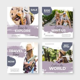 Handgezeichnete reise-instagram-pfosten mit pinselstrichen