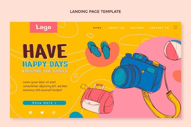 Handgezeichnete reise-landing-page-vorlage