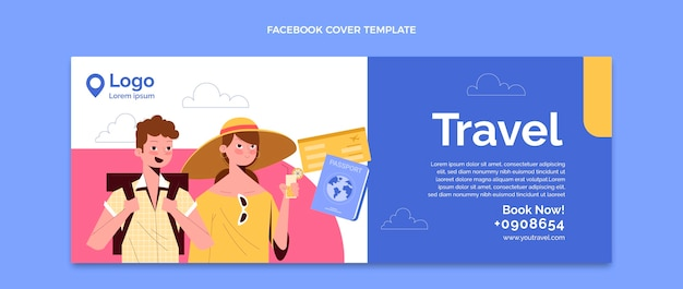 Handgezeichnete reise-social-media-cover-vorlage