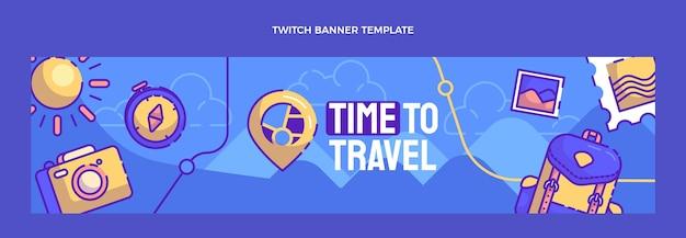 Handgezeichnete reise-twitch-banner-vorlage