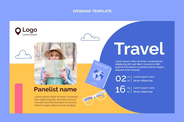 Handgezeichnete reise-webinar-vorlage