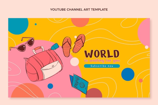 Handgezeichnete reise-youtube-kanalkunst