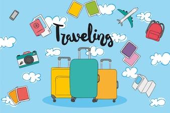 Handgezeichnete reiseelemente