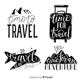 Handgezeichnete reisen schriftzug abzeichen
