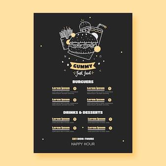 Handgezeichnete restaurant-menüvorlage