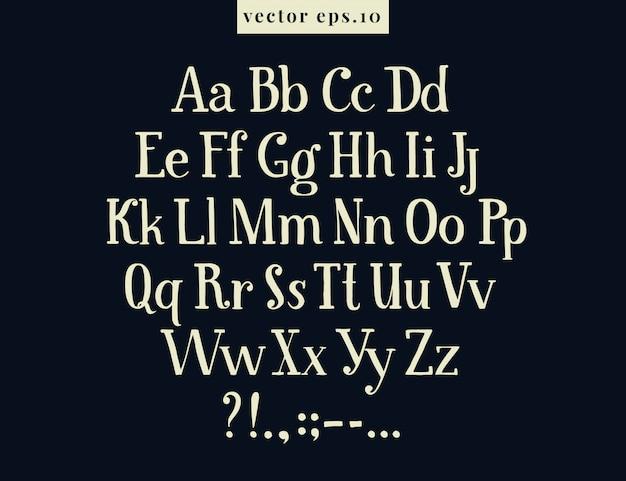 Handgezeichnete retro vektor buchstaben. zeichnendes antikes alphabet auf kreidebrett.