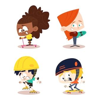 Handgezeichnete retro-zeichentrickfiguren mit kindern, die draußen spielen
