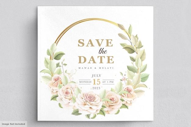 Handgezeichnete rosen einladungskartenvorlage card
