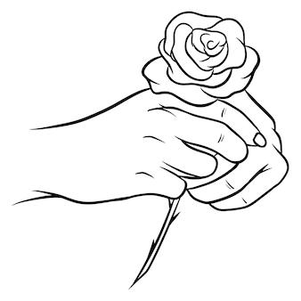 Handgezeichnete rosen. schöne blume. cartoon-stil. vektor-illustration. für design und dekoration.