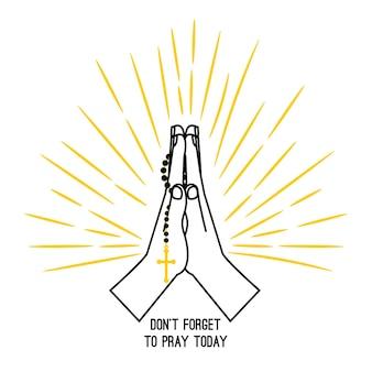 Handgezeichnete rosenkranz beten vektorplakat isoliert auf weißem hintergrund. betende hände der christlichen kirche mit gebetsperlen