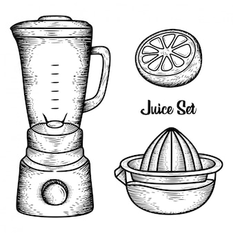 Handgezeichnete saftwerkzeuge