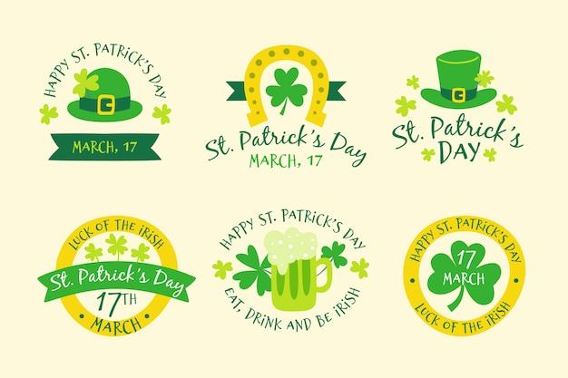 Handgezeichnete saint patricks'day label-auflistung