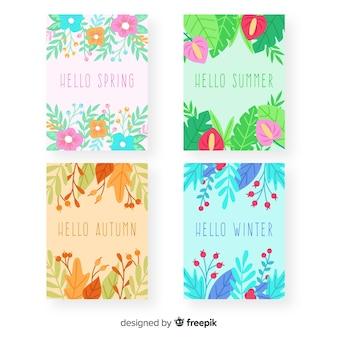 Handgezeichnete saisonale plakatsammlung