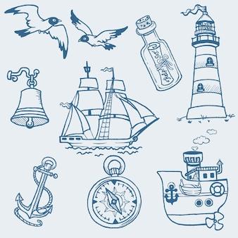 Handgezeichnete sammlung der nautischen kritzeleien