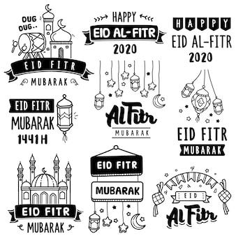 Handgezeichnete sammlung: eid al fitr feiern