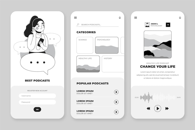 Handgezeichnete sammlung farbloser apps