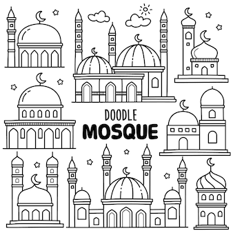 Handgezeichnete sammlung: moschee