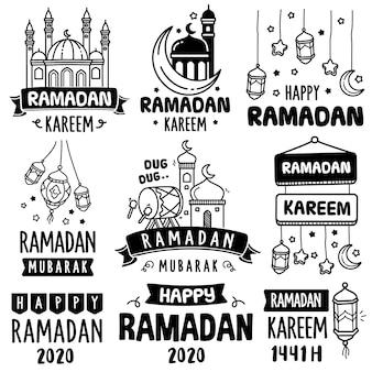 Handgezeichnete sammlung: ramadan feiern