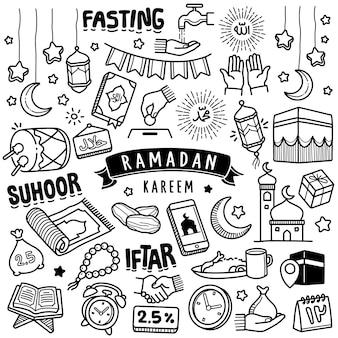 Handgezeichnete sammlung: ramadan kareem