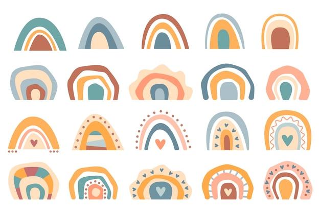 Handgezeichnete sammlung süße boho regenbogen pastellfarbe isoliert auf weißem hintergrund. flache vektorgrafik. design für babyparty, geburtstag, party, sommerurlaub, drucke