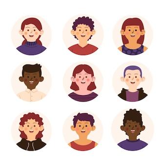 Handgezeichnete sammlung verschiedener profilsymbole