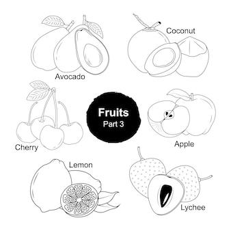 Handgezeichnete sammlung von frischen früchten teil 3