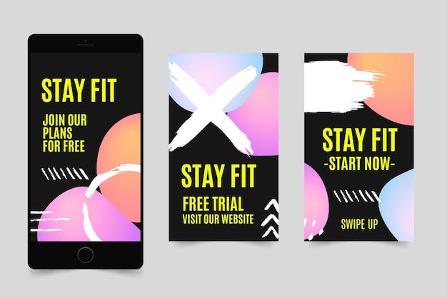 Handgezeichnete sammlung von gesundheits- und fitnessgeschichten