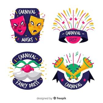 Handgezeichnete sammlung von karneval etiketten