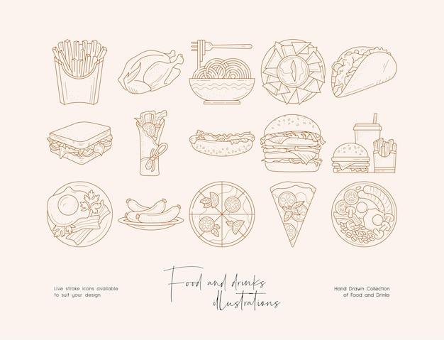Handgezeichnete sammlung von lebensmittelillustrationen mit strichzeichnungen für die markenidentität