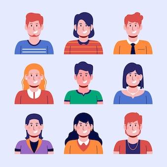 Handgezeichnete sammlung von profilsymbolen für männer und frauen
