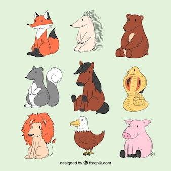 Handgezeichnete sammlung von sitzenden tieren