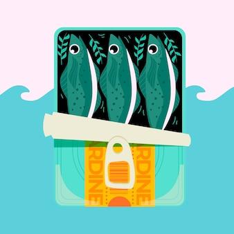 Handgezeichnete sardinenillustration