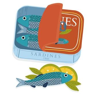 Handgezeichnete sardinenkonservenillustration