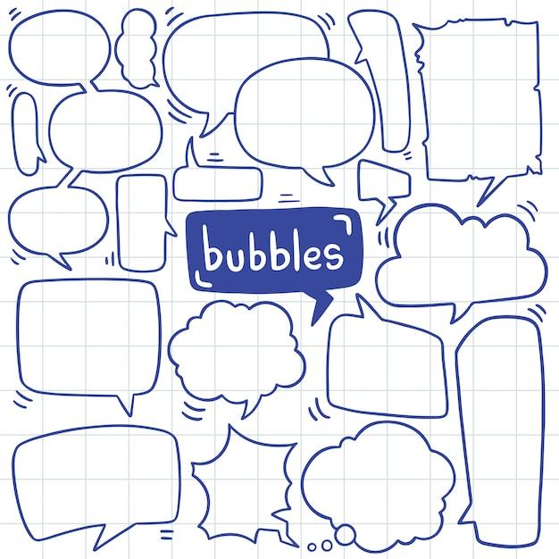 Handgezeichnete satz von niedlichen sprechblase im doodle-stil