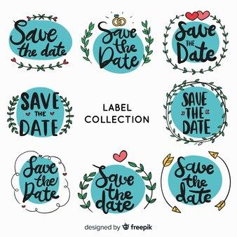 Handgezeichnete save the date label pack