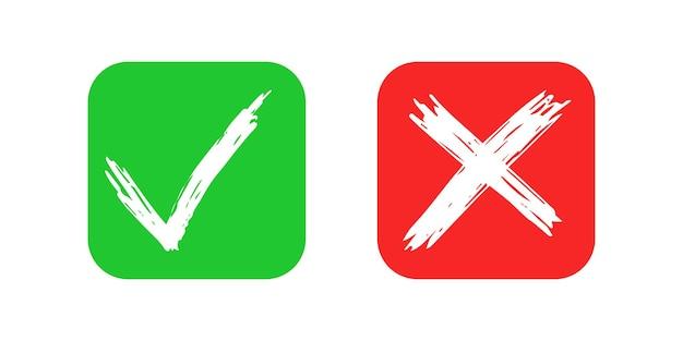 Handgezeichnete scheck- und kreuzzeichenelemente isoliert auf weißem hintergrund. grunge doodle grünes häkchen ok und rotes x auf abgerundeten quadratischen symbolen. vektor-illustration