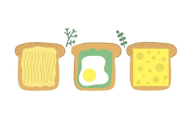 Handgezeichnete scheibe brot lecker toast mit butter spiegelei avocado und käse
