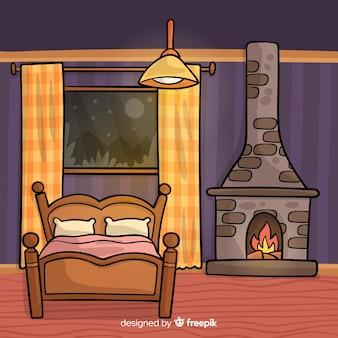 Handgezeichnete Schlafzimmer Innenarchitektur