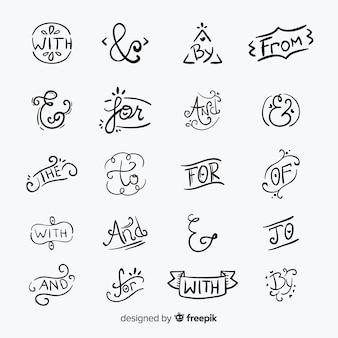 Handgezeichnete schlagwort präpositionen sammlung isoliert: und, mit, für, zu