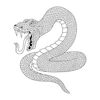 Handgezeichnete schlange im zentangle-stil