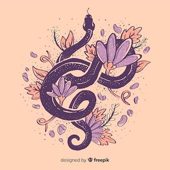 Handgezeichnete schlange, umgeben von blumen