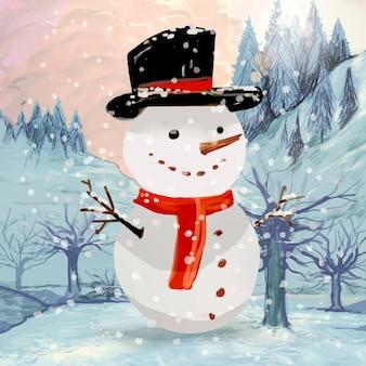 Handgezeichnete schneemann weihnachtsgrußkarte
