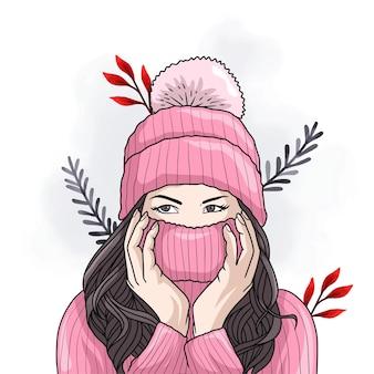 Handgezeichnete schöne frau, die bunte winterkleidung trägt
