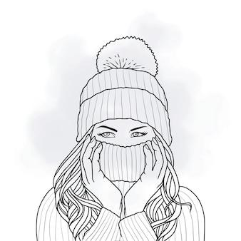 Handgezeichnete schöne frau, die winterkleidung im linienkunststil trägt